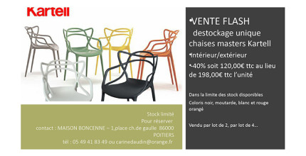 VENTE FLASH : déstockage unique de chaises Masters Kartell