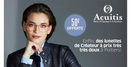 50€ OFFERTS* sur vos lunettes correctrices chez Acuitis